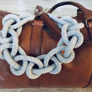Naszyjnik z bawełny pleciony – szary