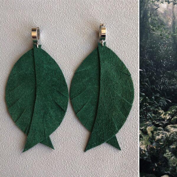 Kolczyki ze skóry liście