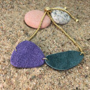 Bransoletka skórzana naturalne kamienie